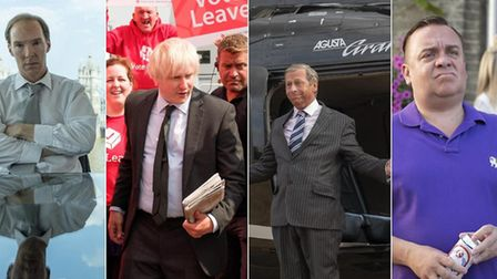 Characters playing Dominic Cummings, Boris Johnson, Nigel Farage and Arron Banks in Brexit: The Unci