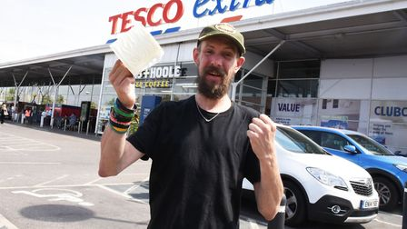 Morph Holland outside Tesco Extra in Hornchurch after they came to his aid after tweeting that his t