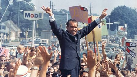 Before the fall: Richard Nixon on the campaign trail in 1968. PHOTO: National Archives and Records A