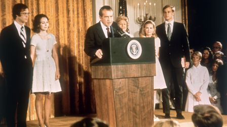 American politician Richard Nixon (1913 - 1994) at the White House with his family after his resigna