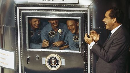 24th July 1969: From left to right, Neil Armstrong, Michael Collins and Edwin 'Buzz' Aldrin Jnr, th