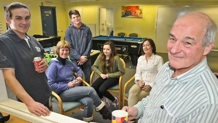 Sam King volunteer trainee, Heather Jenkins, service users Louis and Louise, Nola Gocout and Michael