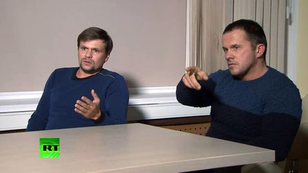 Ruslan Boshirov (L) and Alexander Petrov, suspected by the British authorities of poisoning former G