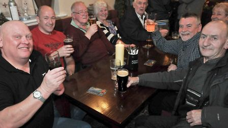 Pubgoers at the reopening of the Bristol House in December