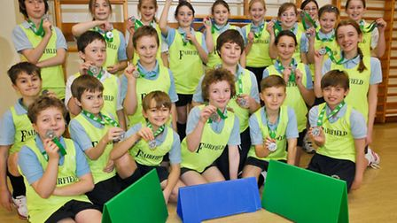 Fairfield School pupils with their medals.