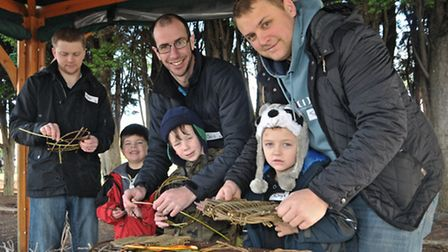 Mike, Cameron, Chris, Josh, Sam and Rhys learning forrest crafts.