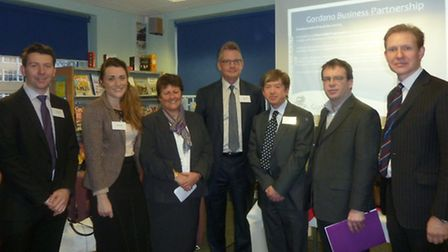 Gordano School business breakfast: (left to right) David Bowdley and Natasha Cottell of Miller Const