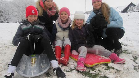 Familes enjoying the snow in Clevedon