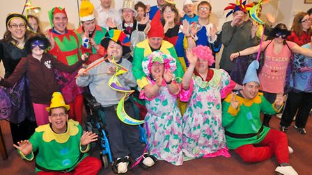 Brandon Trust Lively Atmosphere group in dress rehearsal for Snow White Panto.