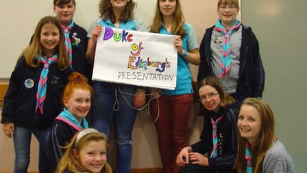 Members of 1st Clevedon West guides who delivered a presentation about gaining Duke of Edinburgh Awa