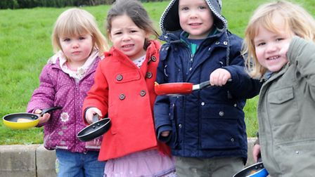 Sienna, Gabrielle, Matthew and Dylan pancake racing at Busy Bees nursery in Portishead