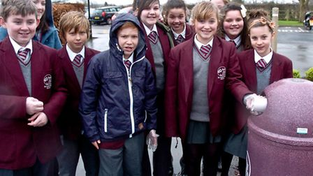Pupils taking part in litter picking as part of Big Tidy Up.