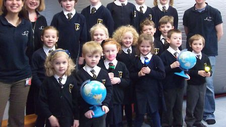 St Joseph's Primary School pupils with the explorer dome