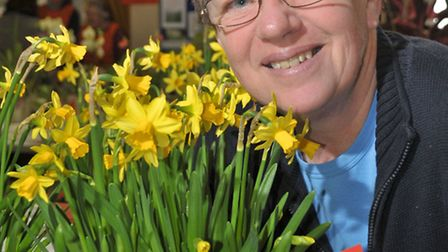 Chris Jarvis with her prize winning daffodils.