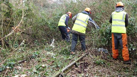 The tracks being cleared near Trinity Primary School
