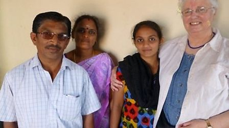 Saranya and her family with Margaret Bowen from Nailsea.