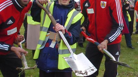 Turf cutting ceremony to mark building of three new classrooms with Ben and Liam Fontaine and Marvi