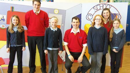 Actors from Firehorse Productions with pupils Briony, Dominique, Sorsha and Letitia.