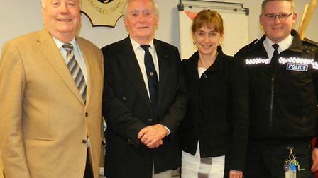 Sue Mountstevens with (left to right) Cllr Patrick McNeill and Dave Brockington of Clevedon PACT and