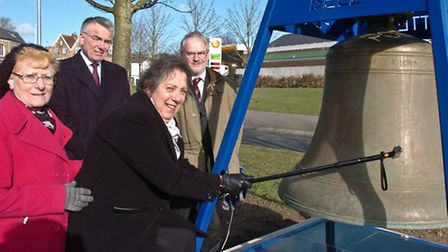 Official unveiling of bell with Simon Bird and Peter Burden with Carol Thomas and Cllr Reyna Knight.