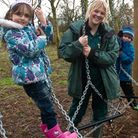 Children having fun at the conservation weekend Kate Roberts with Maisie and Ben.
