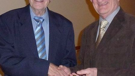 Paul Adams was handed the badge of office by Dave Robinson