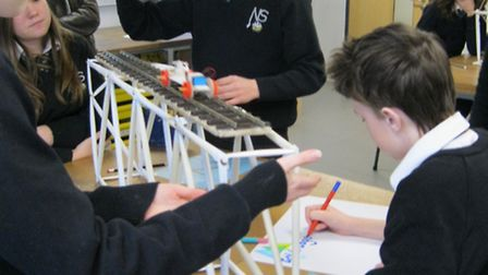 Students taking part in an engineering competition at Nailsea School.