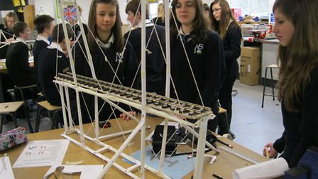 Students competing in an engineering challenge at Nailsea School.