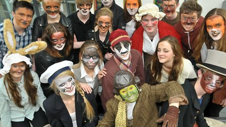Nailsea School, students dressed in costume for performance of 'Wind in the Willows'.