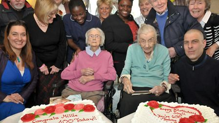 Milly Wright and Joy Makepeace celebrating their 100th birthdays.