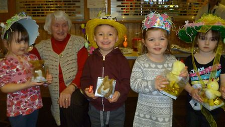 Children from Grove Preschool showing off their Easter hats.