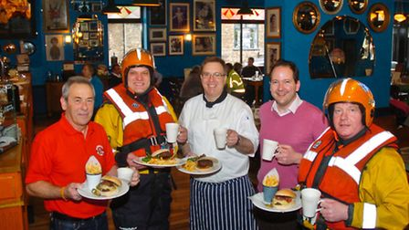 Launch of new cafe bar with the help of lifeboat volunteers.