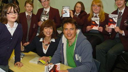 John Barrowman with his sister Carole launching their new book at the school.