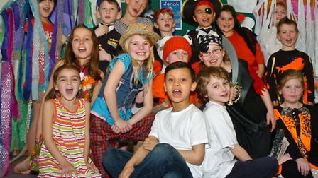 Children in costume for the school production of Jonah a Fishy Tail.