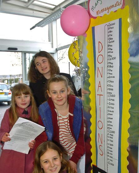 Children from Mary Elton Primary School selling tickets for treasure trail.