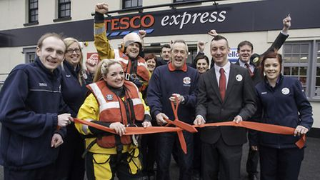 Ben Cason manager of the new Tesco Express in Portishead with John Gittings chairman of Portishead L