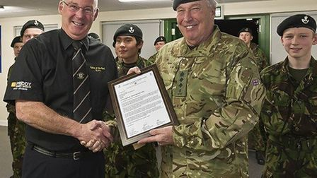 Nailsea and Backwell Rugby Club chairman Jeff Morris presented with a plaque from the Nailsea Army C