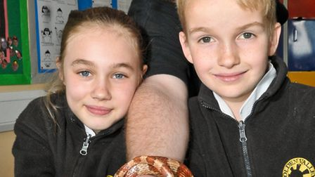 Hannah and Ben with Cuddles the corn snake and Nick Gover from Zoo Lab.