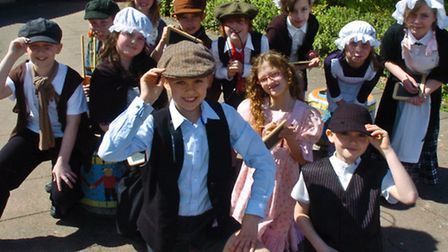 Year five pupils dressed up as Victorians.
