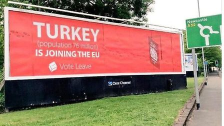 Vote Leave EU referendum poster about Turkey. Photograph: PA Wire.