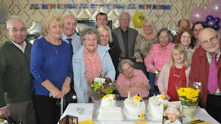 Edna Young who is 100 today, celebrating with her family.