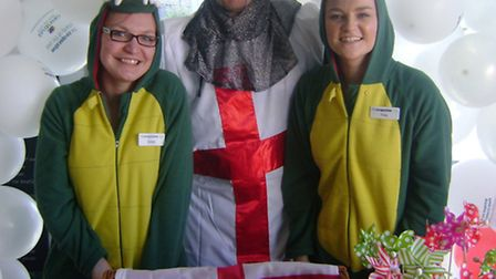 Fiona Mason (right) and Bryony Drew with Phil Airey as St George.