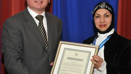 DC Ian Prideaux, with the High Sheriff of Bristol, Dr Shaheen Chaudhry