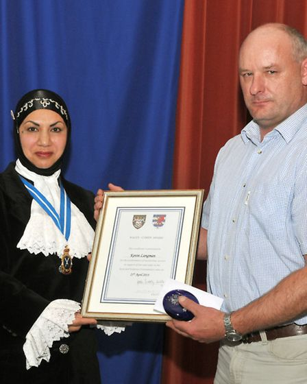 Kevin Langman, with the High Sheriff of Bristol, Dr Shaheen Chaudhry