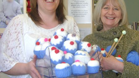 Knitting for Parkinson's: Zoe (right) with Yvonne.