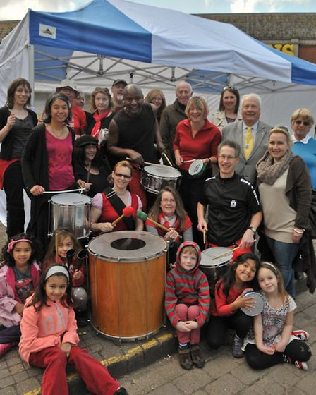 Clevedon Pride people and councillors with a Samba band under their new marquee.