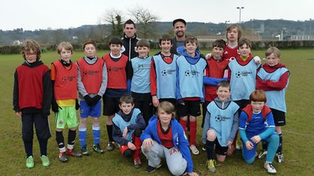 Footballers on Bristol City Soccer School's course at Backwell School.