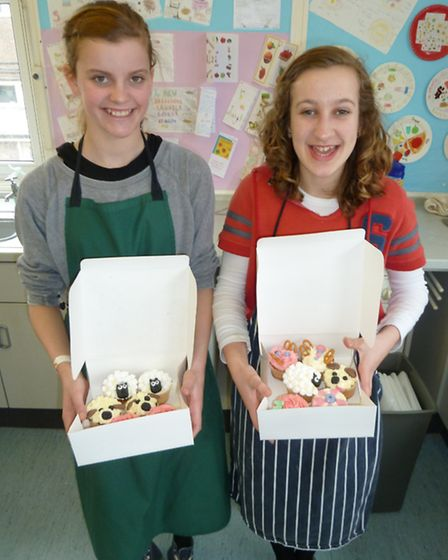 Pupils from Backwell School's Easter cupcake decorating course show off their creations.