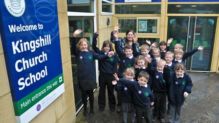 Kingshill School, Nailsea. Pupils in new uniform now school has become an academy.