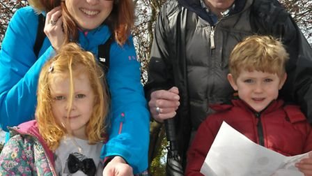 Paul, Hannah, Henry and Audrey Weston with their treasure maps.